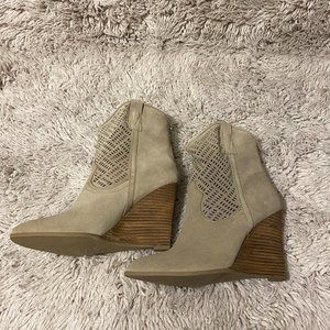 Crown Vintage Suede Beige Western Wedge Booties